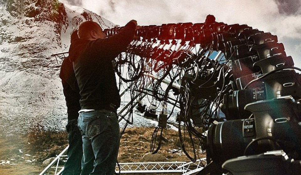 Production bullet time rig getting set up for Land Rover advert