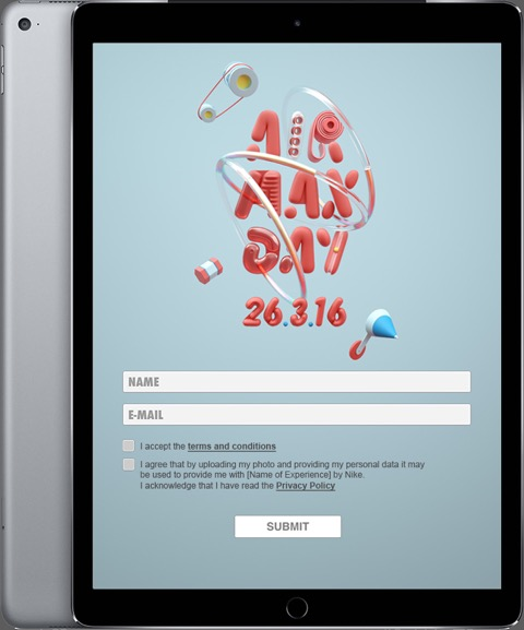 Nike Air Max Tablet Sign up layout