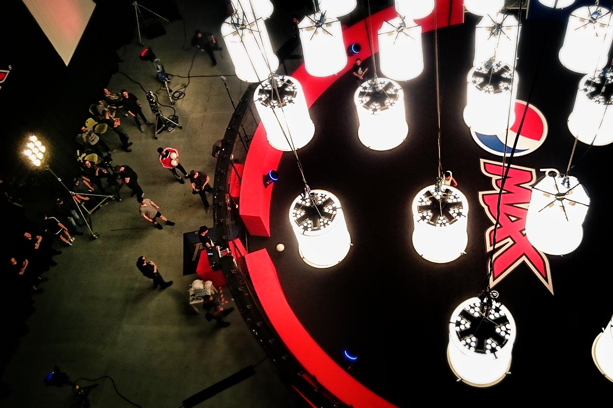 Shot from above of 360 bullet time rig at Pepsi shoot