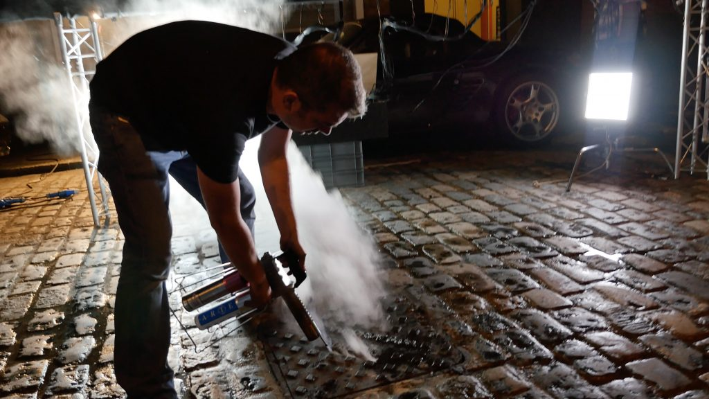 Ian making the smoke effect from the grate